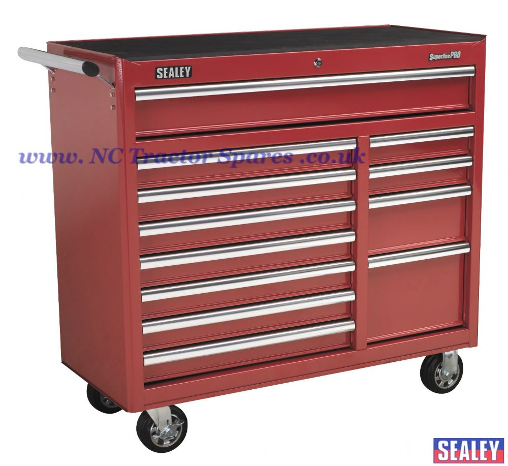 Rollcab 12 Drawer with Ball Bearing Runners Heavy-Duty - Red